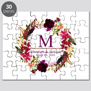 Boho Wreath Wedding Monogram Puzzle
